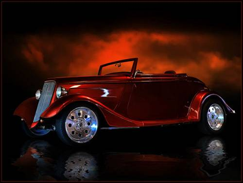 Hot Rods On Black Background